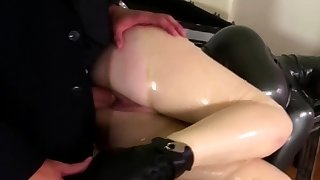 Fetish babe trapped in a box..