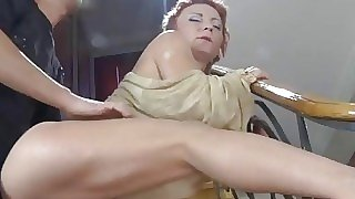 Redhead mommy gave in ass