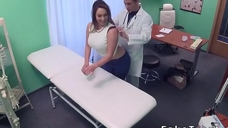 Big-chested patient pulls..